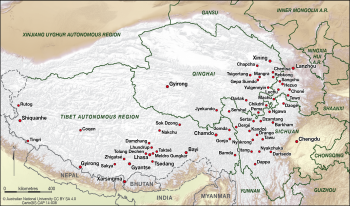 Cities and towns on the Tibetan Plateau