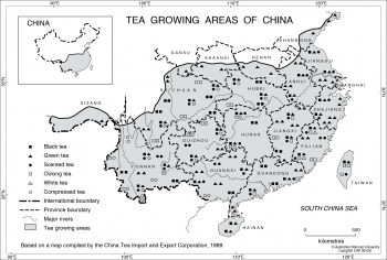 China tea areas - 1989