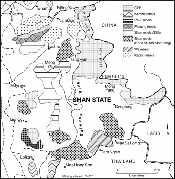 Shan state rebel positions