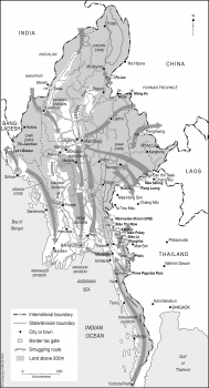 Myanmar (Burma) smuggling routes