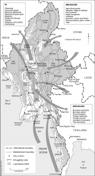 Myanmar (Burma) smuggling routes & smugglers
