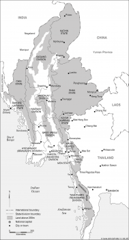 Myanmar (Burma) - states and regions