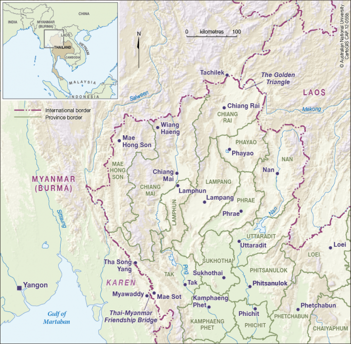Lampang Thailand Map.North West Thailand Cartogis Services Maps Online Anu