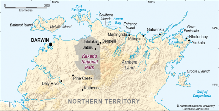 Map Of Australia Kakadu National Park.Kakadu National Park Location Cartogis Services Maps Online Anu