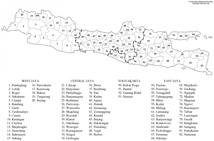 java districts and towns cartogis services maps online anu anu college of asia and the pacific