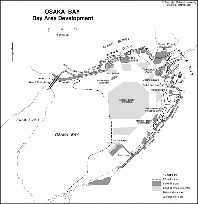 Osaka Bay Development - CartoGIS Services Maps Online - ANU