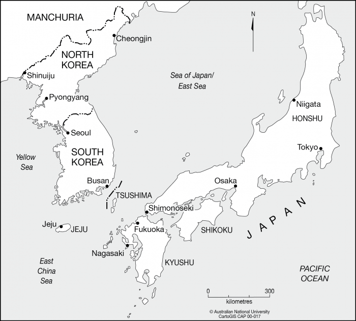 North Korea To Japan CartoGIS Services Maps Online ANU - Japan map korea