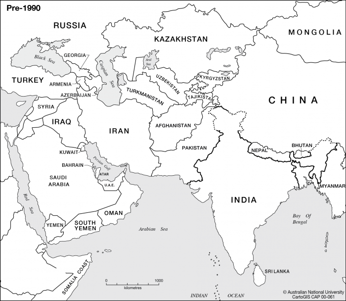 India And The Middle East Cartogis Services Maps Online Anu