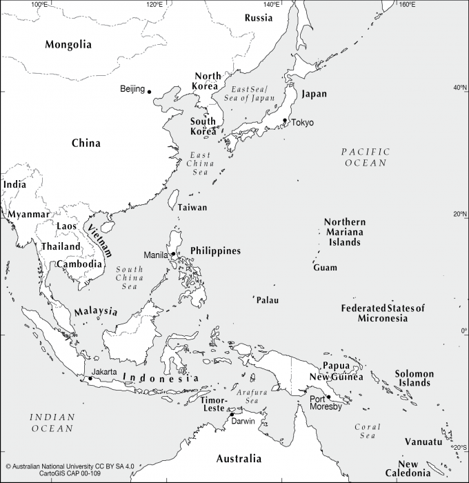 Map Of Southeast Asia And South Pacific.Se Asia To West Pacific Cartogis Services Maps Online Anu
