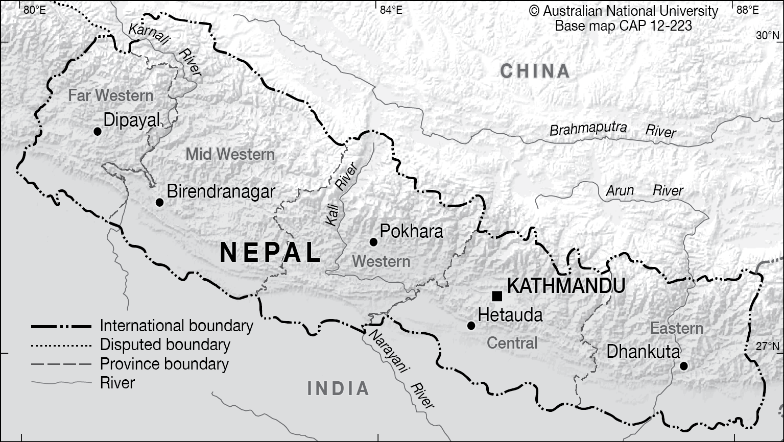 Nepal Elevation Map.Nepal Base Cartogis Services Maps Online Anu