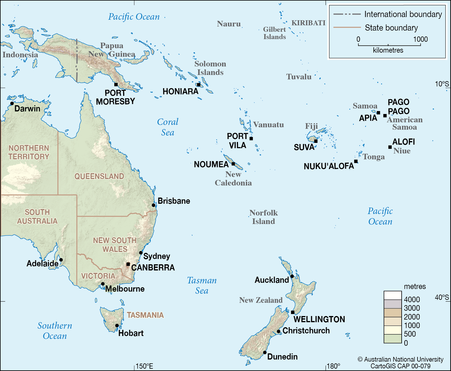 Map Of Australia And Neighbouring Countries.Australia S Neighbours Cartogis Services Maps Online Anu