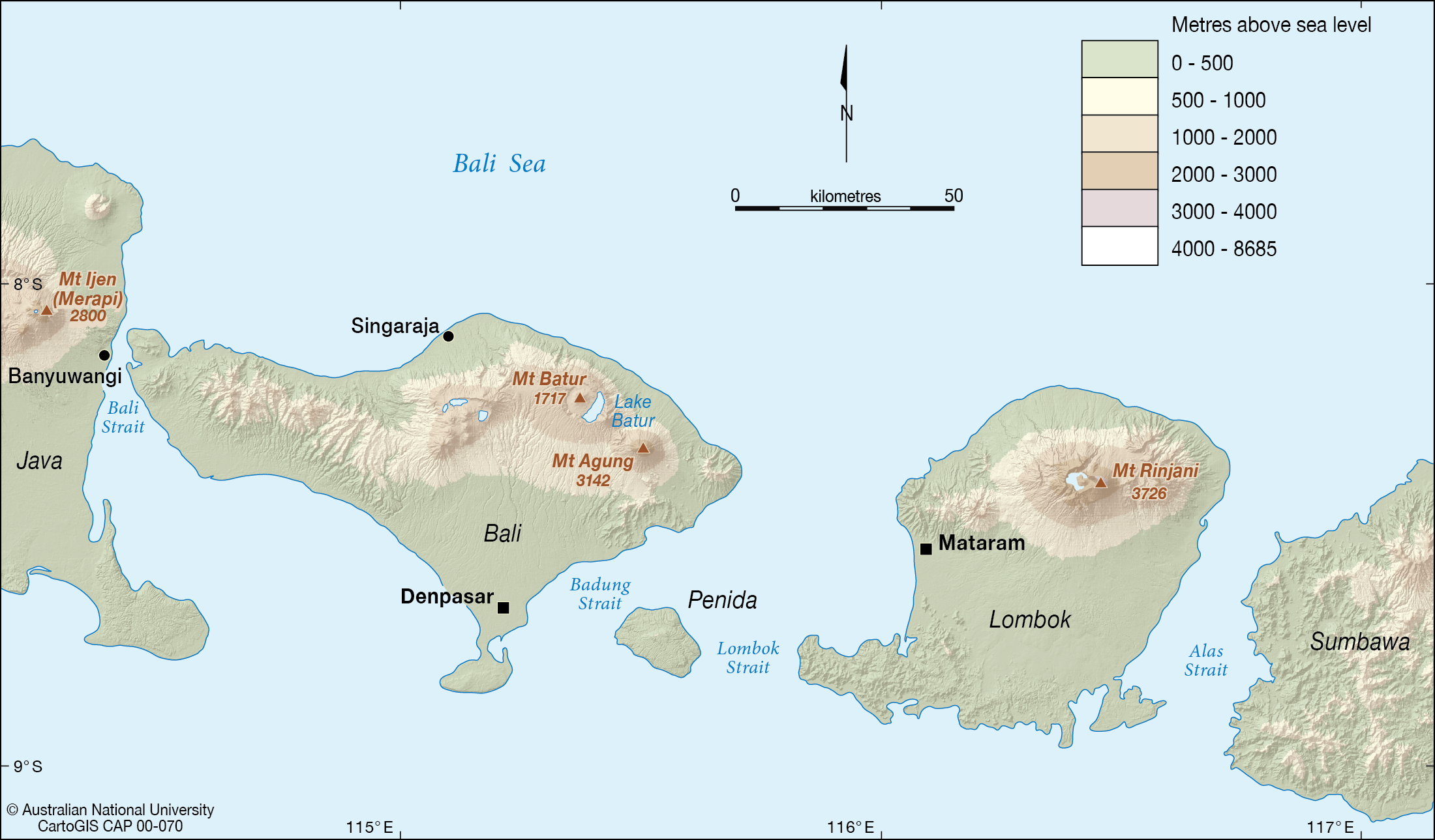 Bali and Lombok - CartoGIS Services Maps Online - ANU