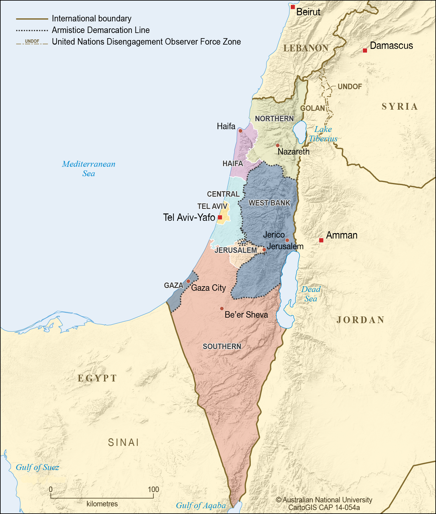Israel Gaza And West Bank 2012 Cartogis Services Maps Online Anu