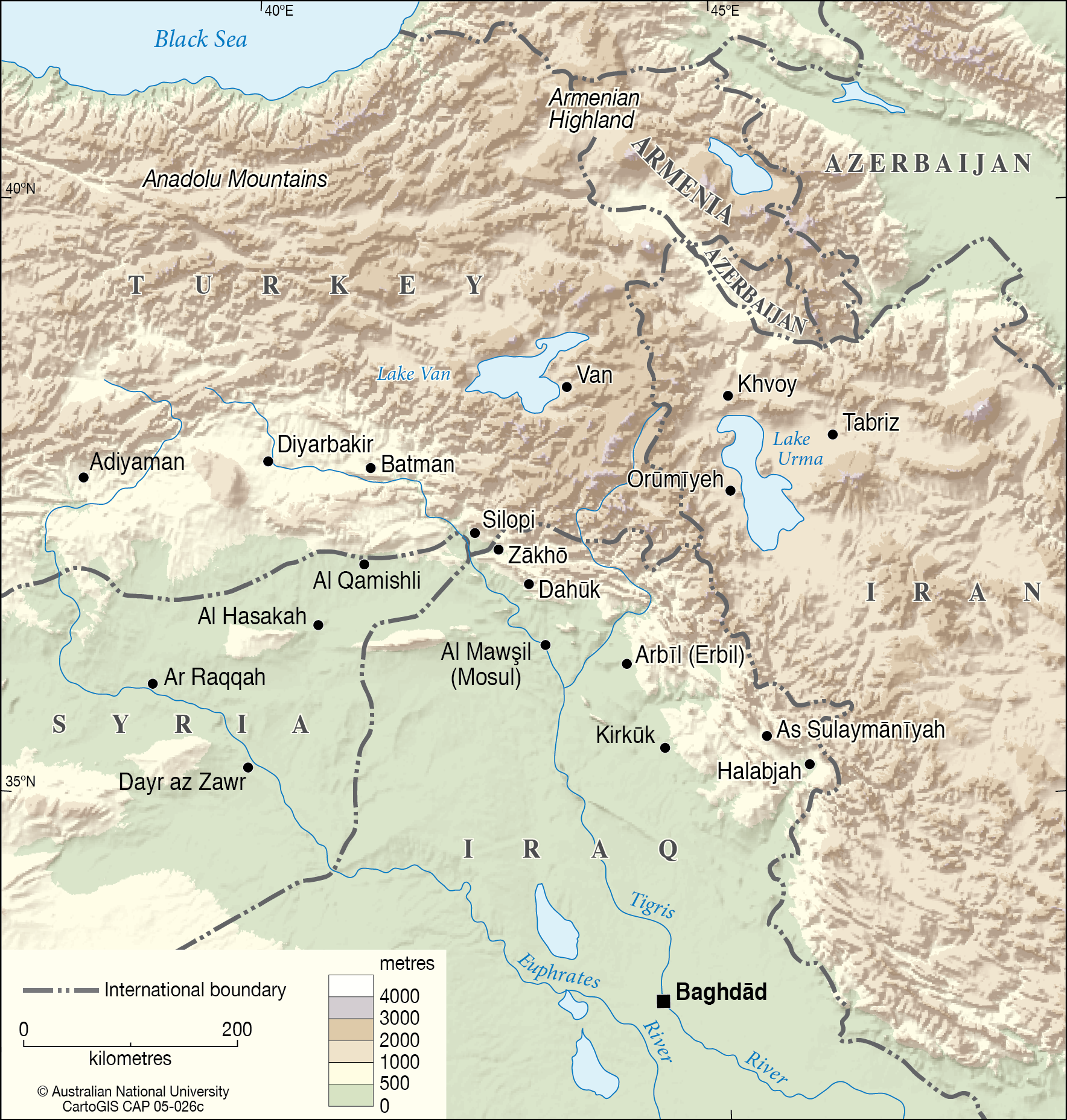 Black Sea To Baghdad CartoGIS Services Maps Online ANU - Baghdad map world