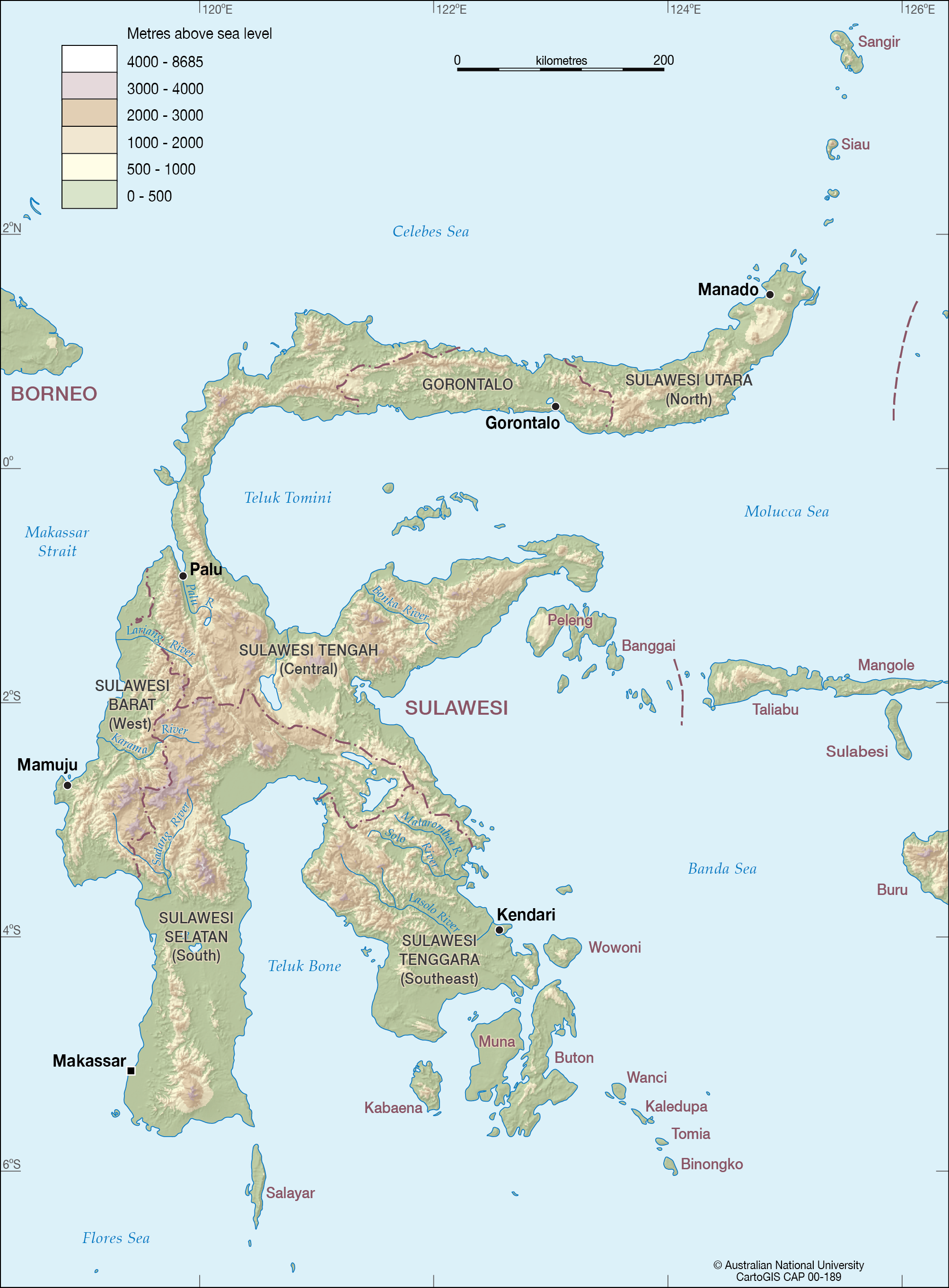 Sulawesi in colour with elevation CartoGIS Services Maps Online ANU