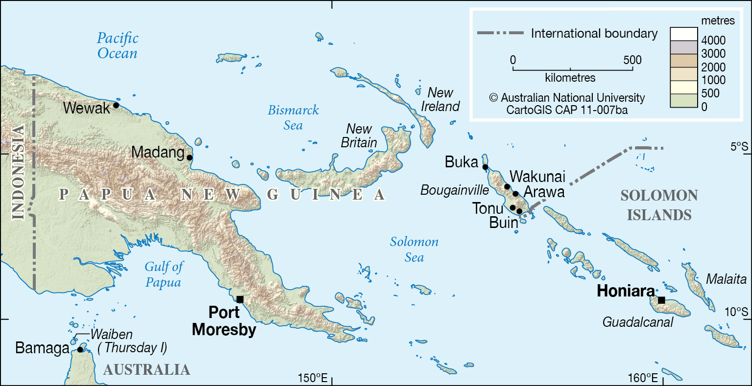PNG to the Solomon Islands - CartoGIS Services Maps Online - ANU