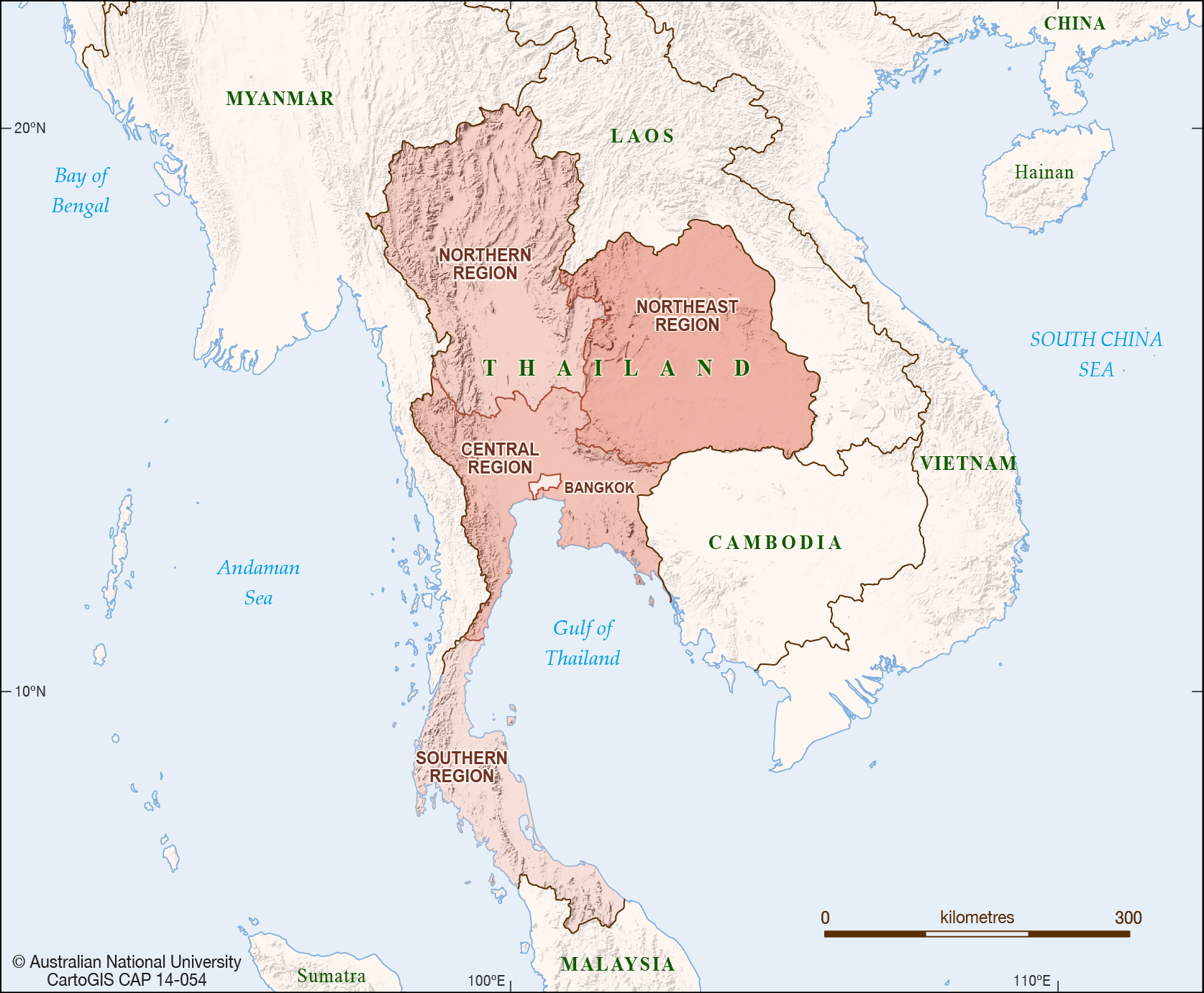 Thailand Regions  CartoGIS Services Maps Online  ANU