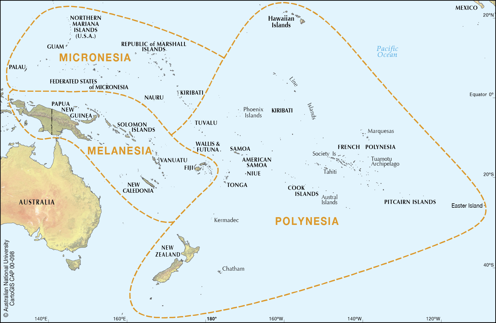 Subregions of Oceania - CartoGIS Services Maps Online - ANU