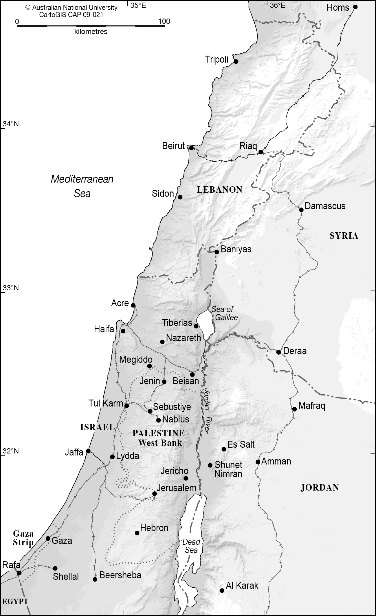 Palestine and surrounding countries - CartoGIS Services Maps ...