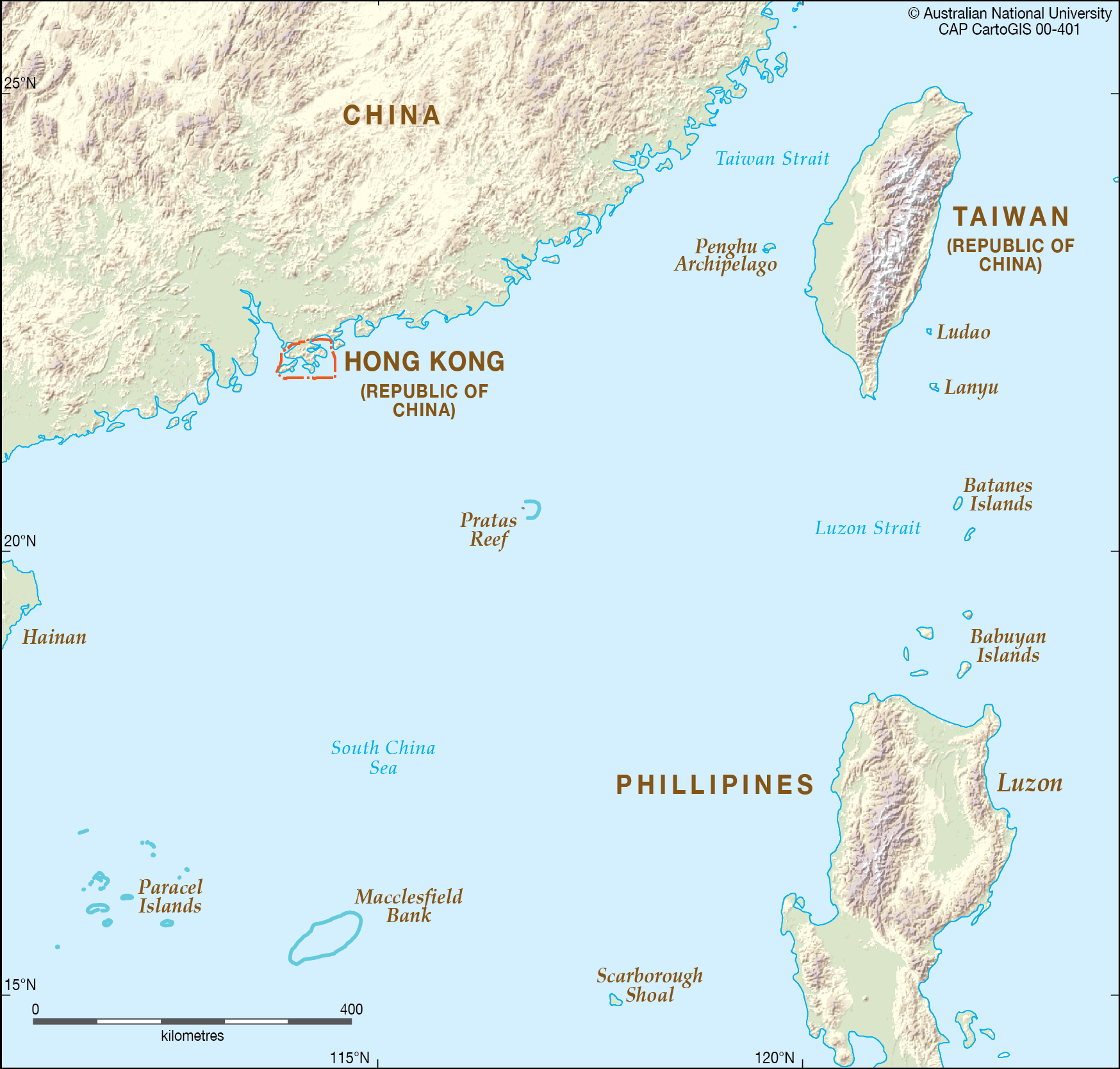 South China Sea - northern section - CartoGIS Services Maps