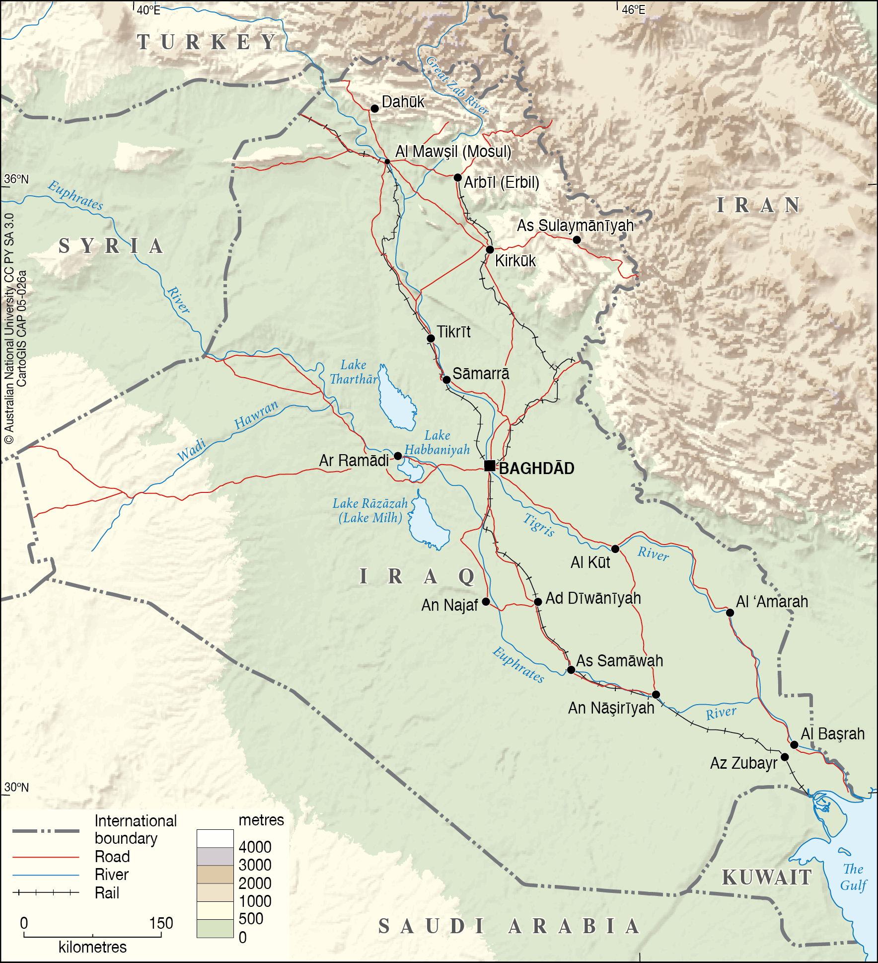Iraq - Roads, rail and rivers - CartoGIS Services Maps