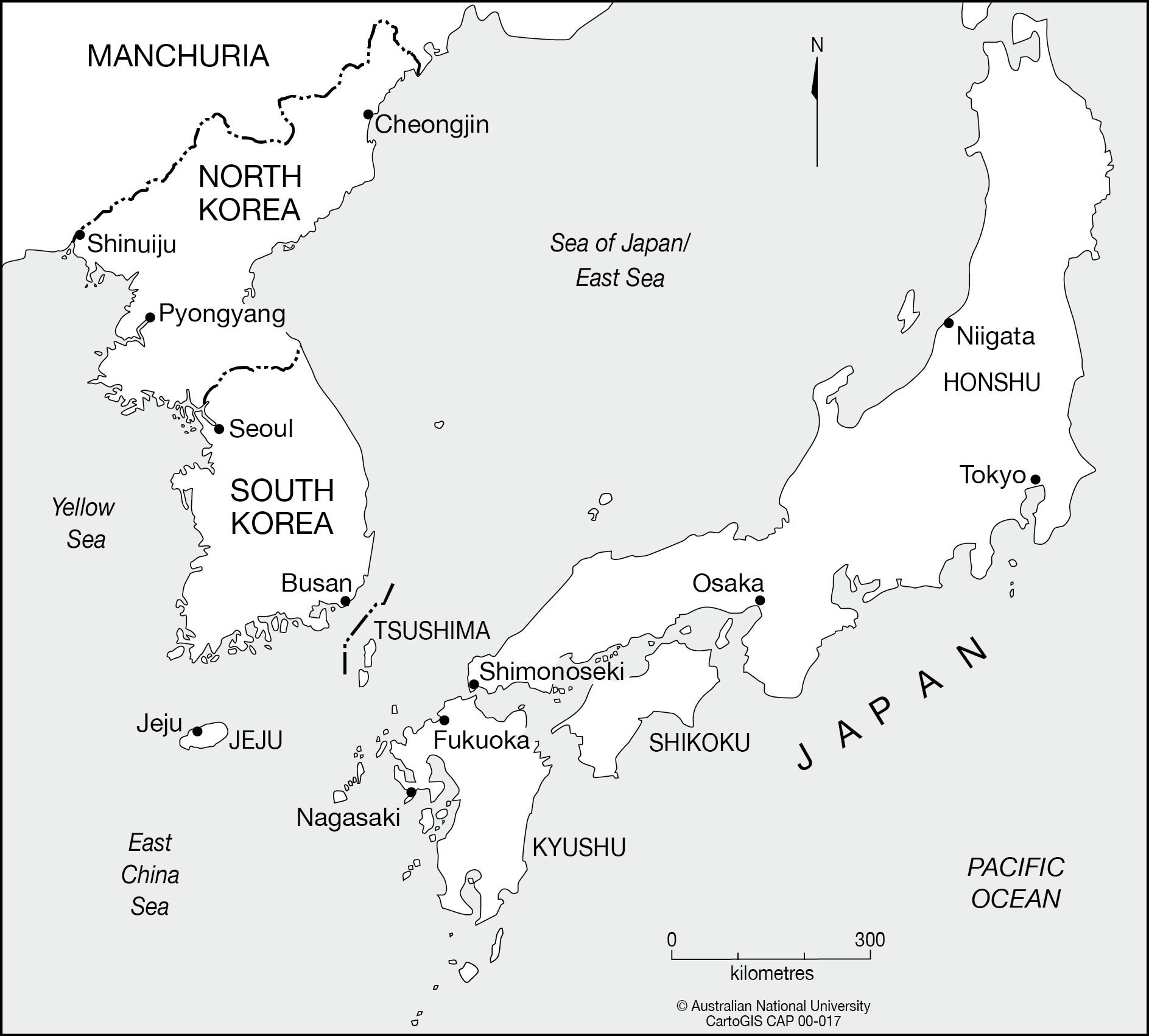 North Korea To Japan CartoGIS Services Maps Online ANU - Japan map black and white