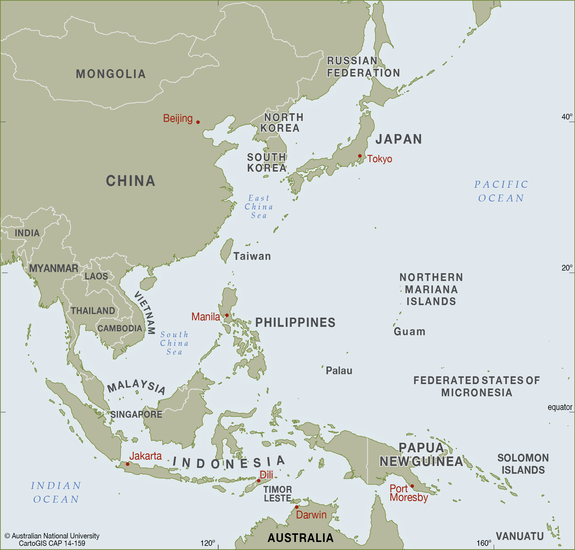 East Asia to west Pacific CartoGIS Services Maps Online ANU