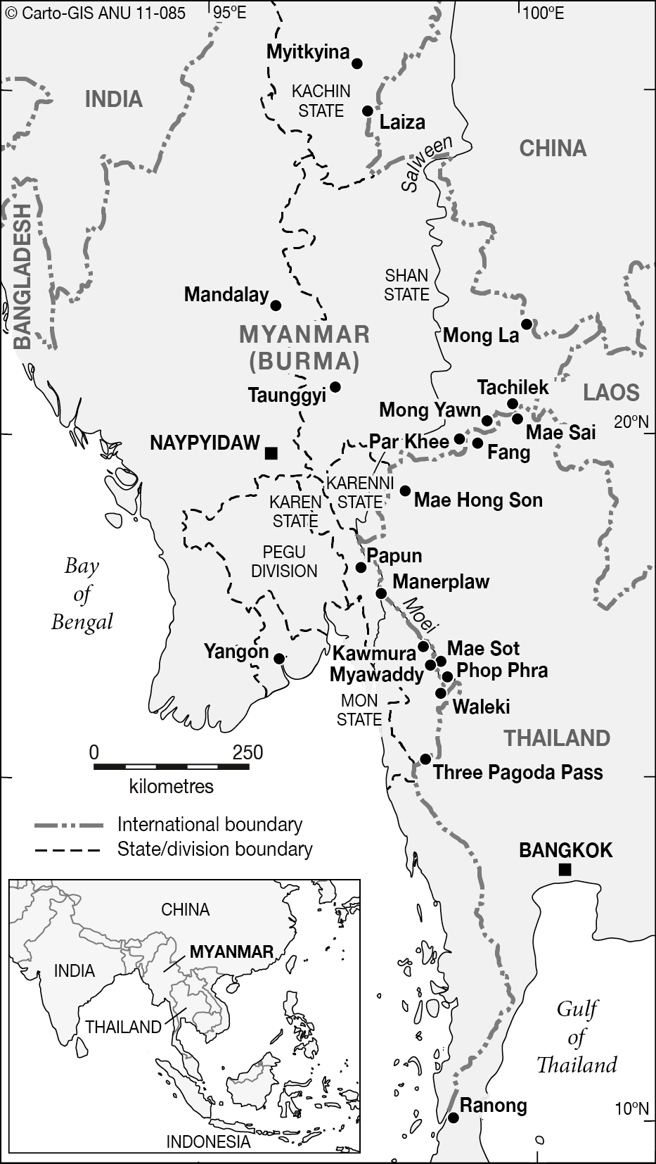 myanmar eastern states cartogis services maps online anu Hotels in Burma map