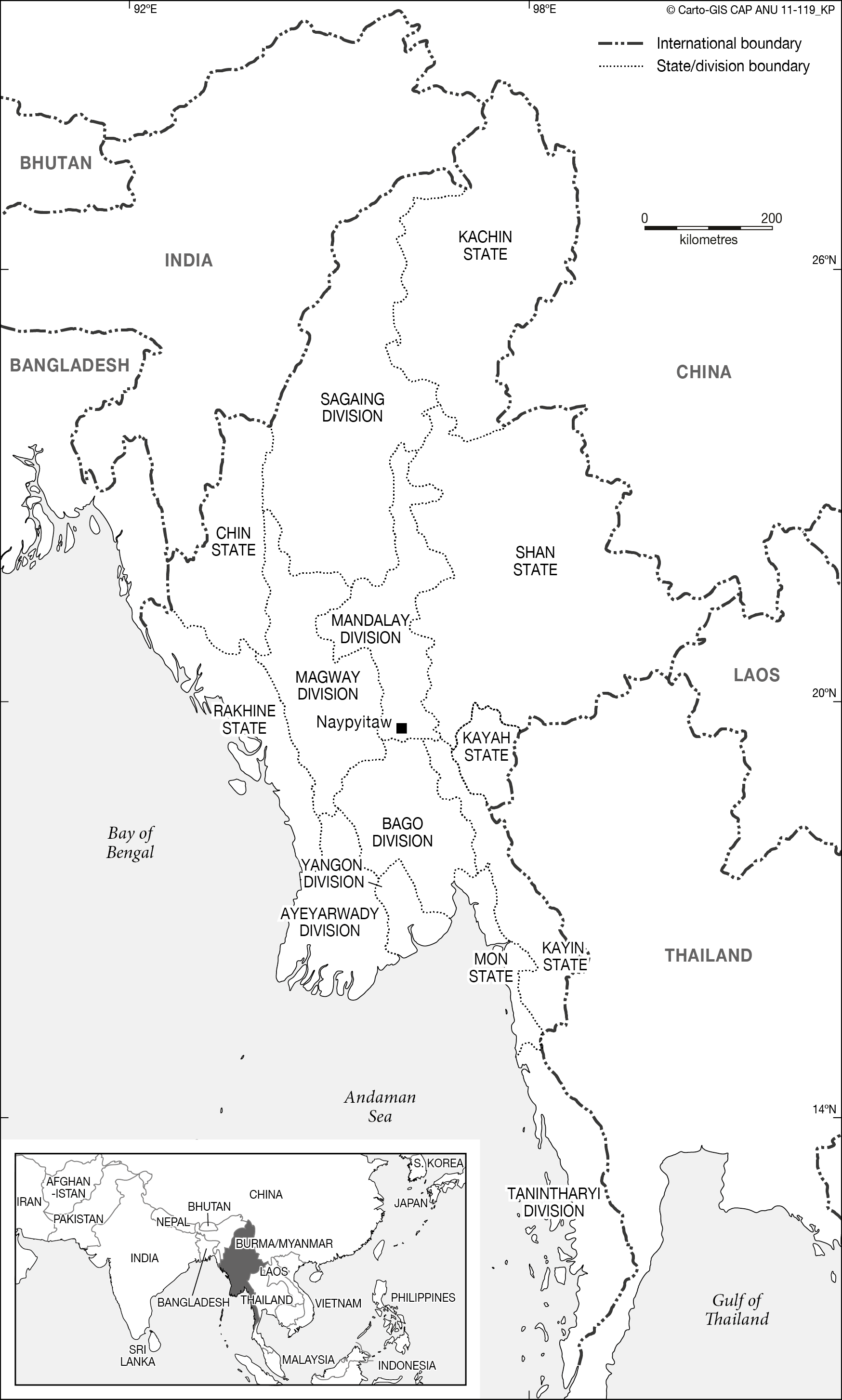 myanmar with inset cartogis services maps online anu Religion and Culture maps online