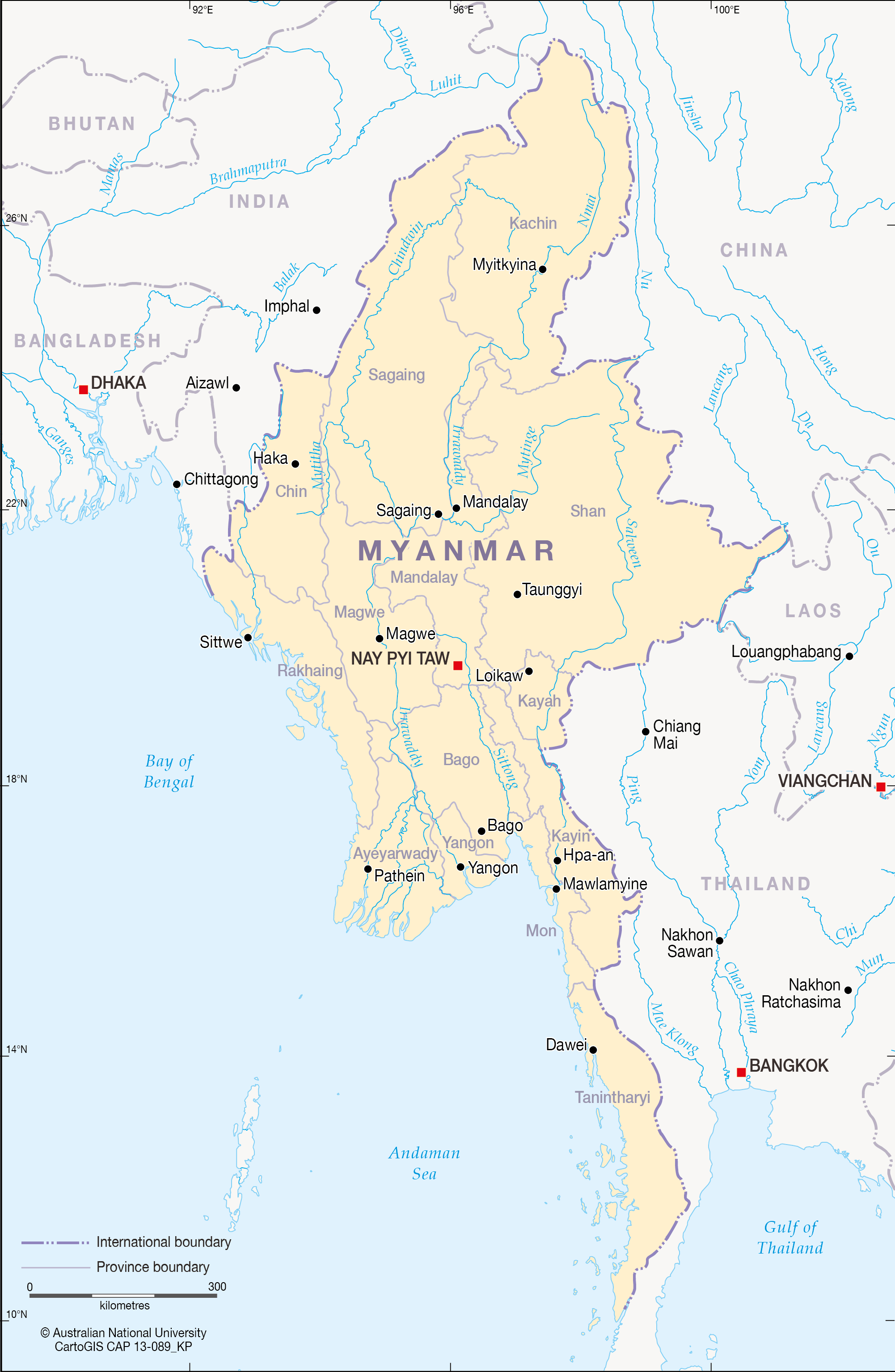 Myanmar Rivers CartoGIS Services Maps Online ANU - Burma map download