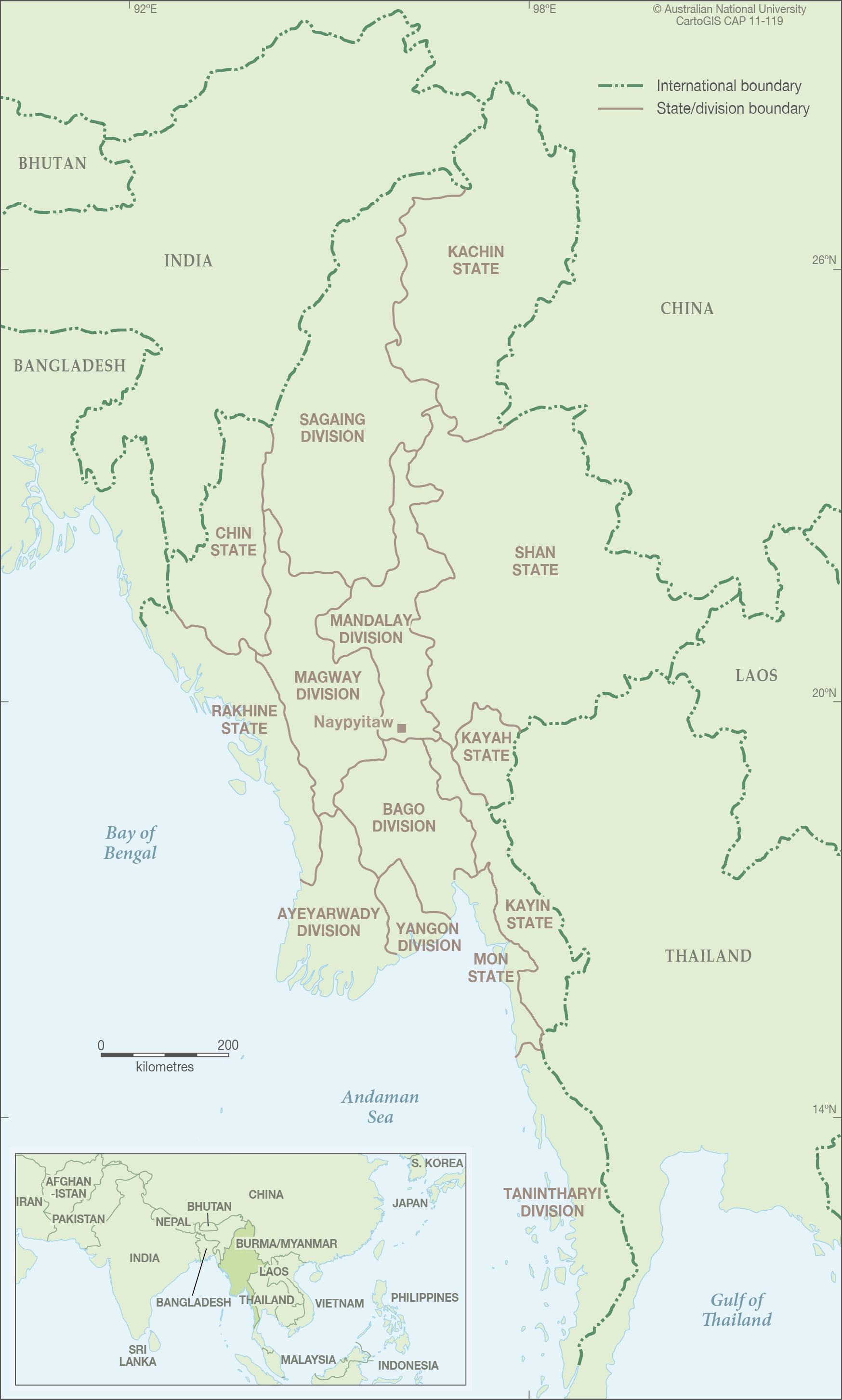 Myanmar with location map - CartoGIS Services Maps Online - ANU