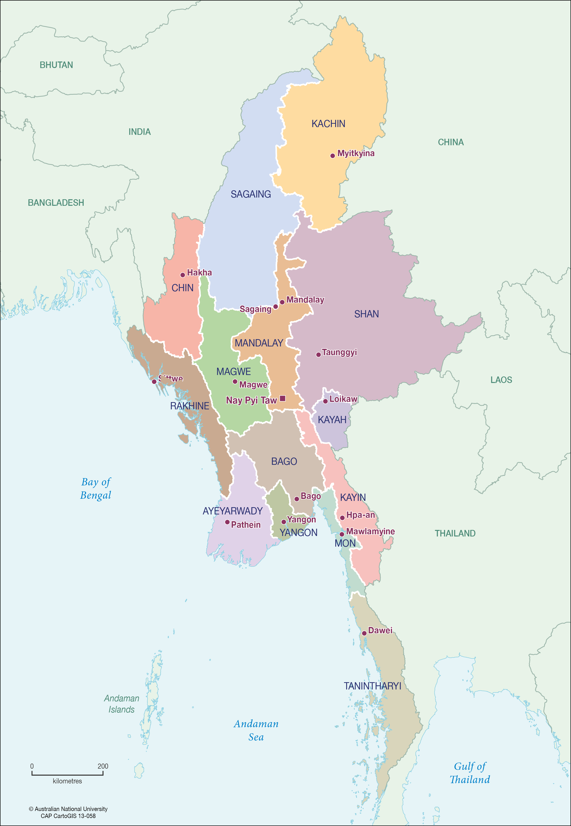 Myanmar Statesregions CartoGIS Services Maps Online ANU - Burma map download