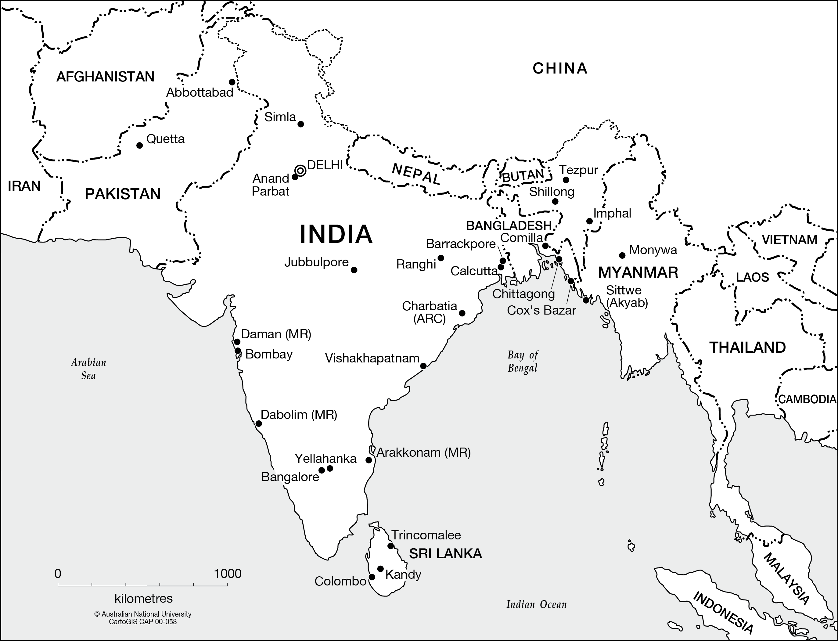 India And Surrounds Cartogis Services Maps Online Anu