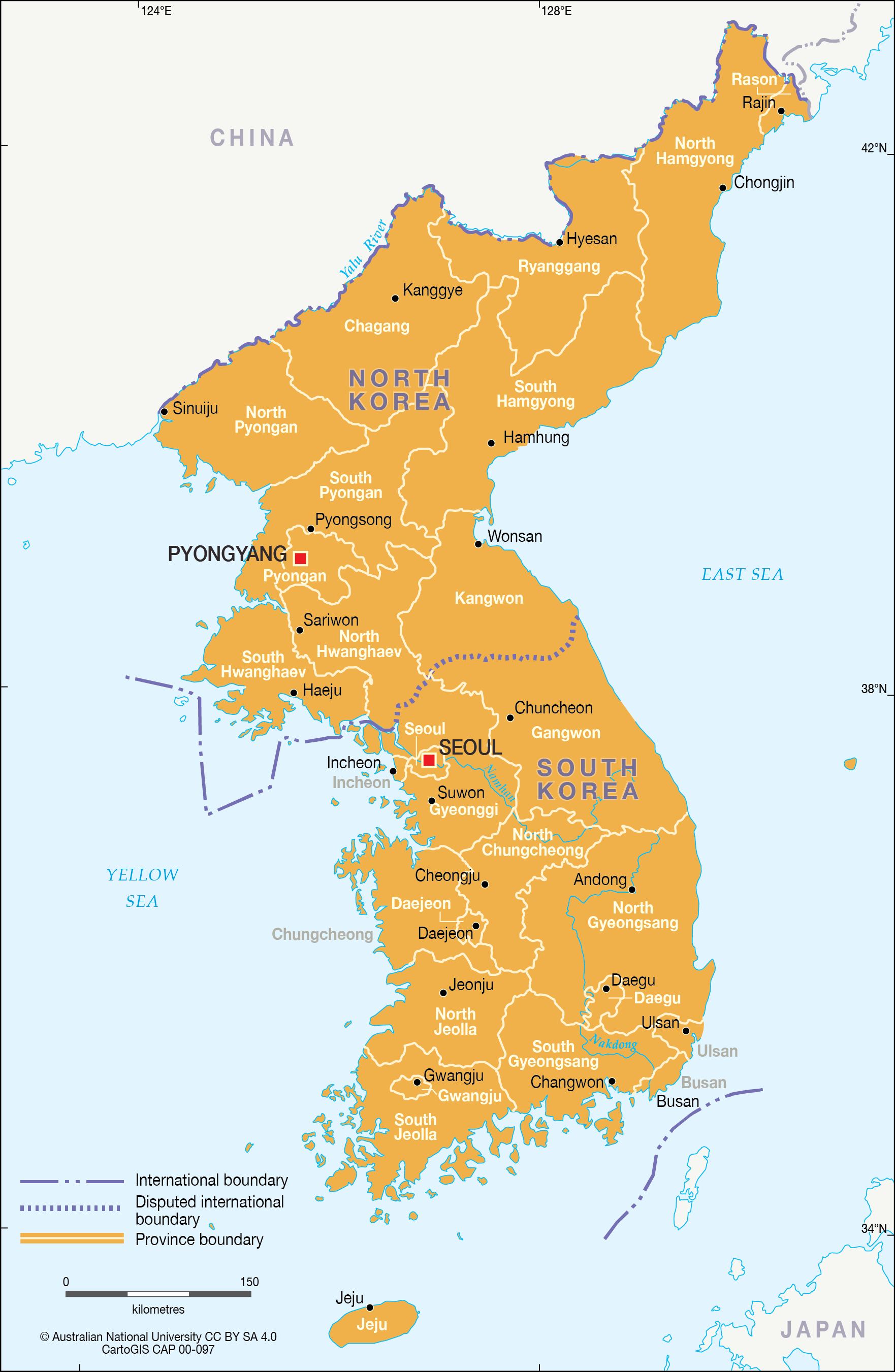 North and South Korea - Provincial map - CartoGIS Services Maps ...