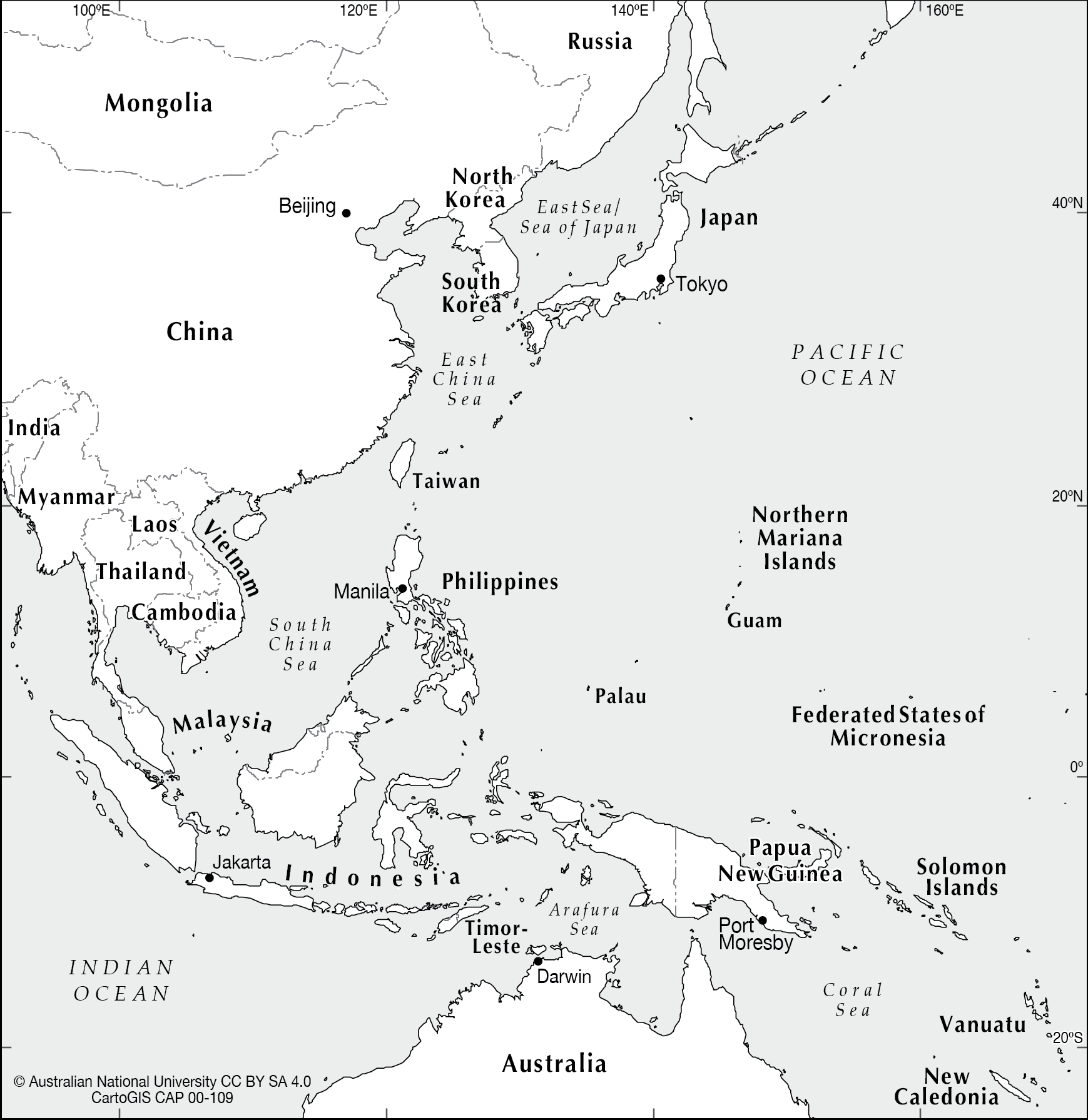 Black Map Of Asia.Se Asia To West Pacific Cartogis Services Maps Online Anu