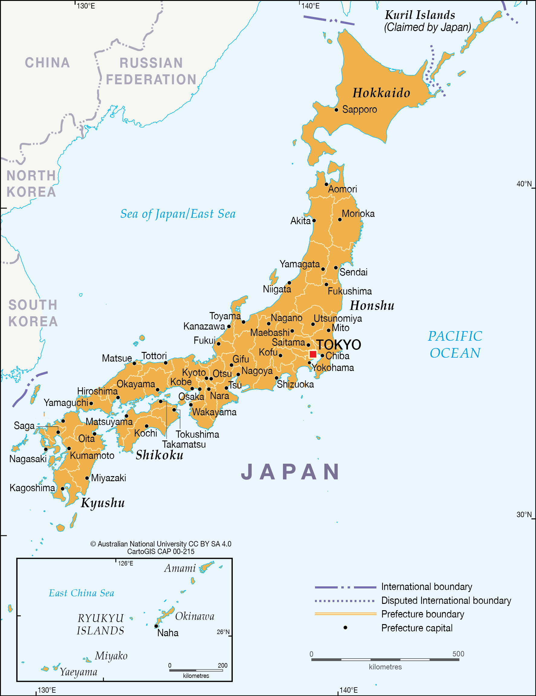 Map Of Japan With Prefectures.Japan Prefectures Cartogis Services Maps Online Anu