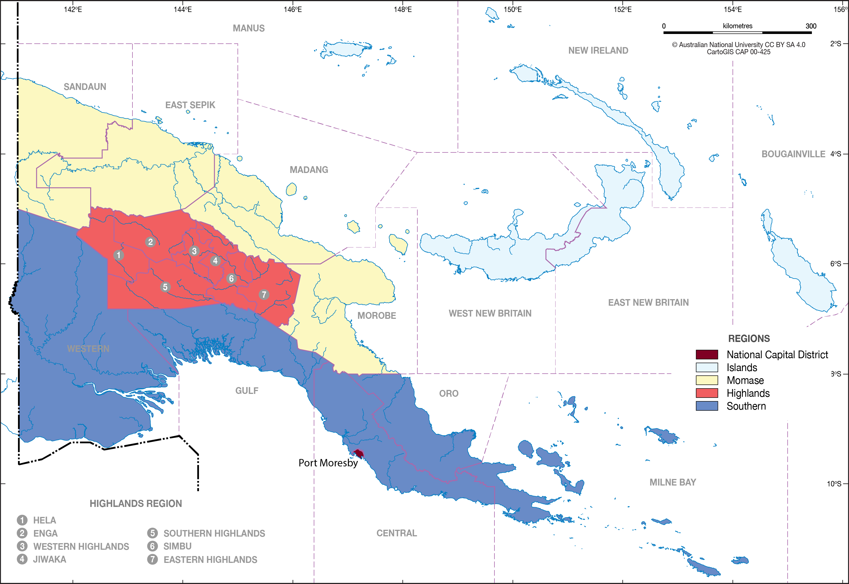Regions of PNG - CartoGIS Services Maps Online - ANU