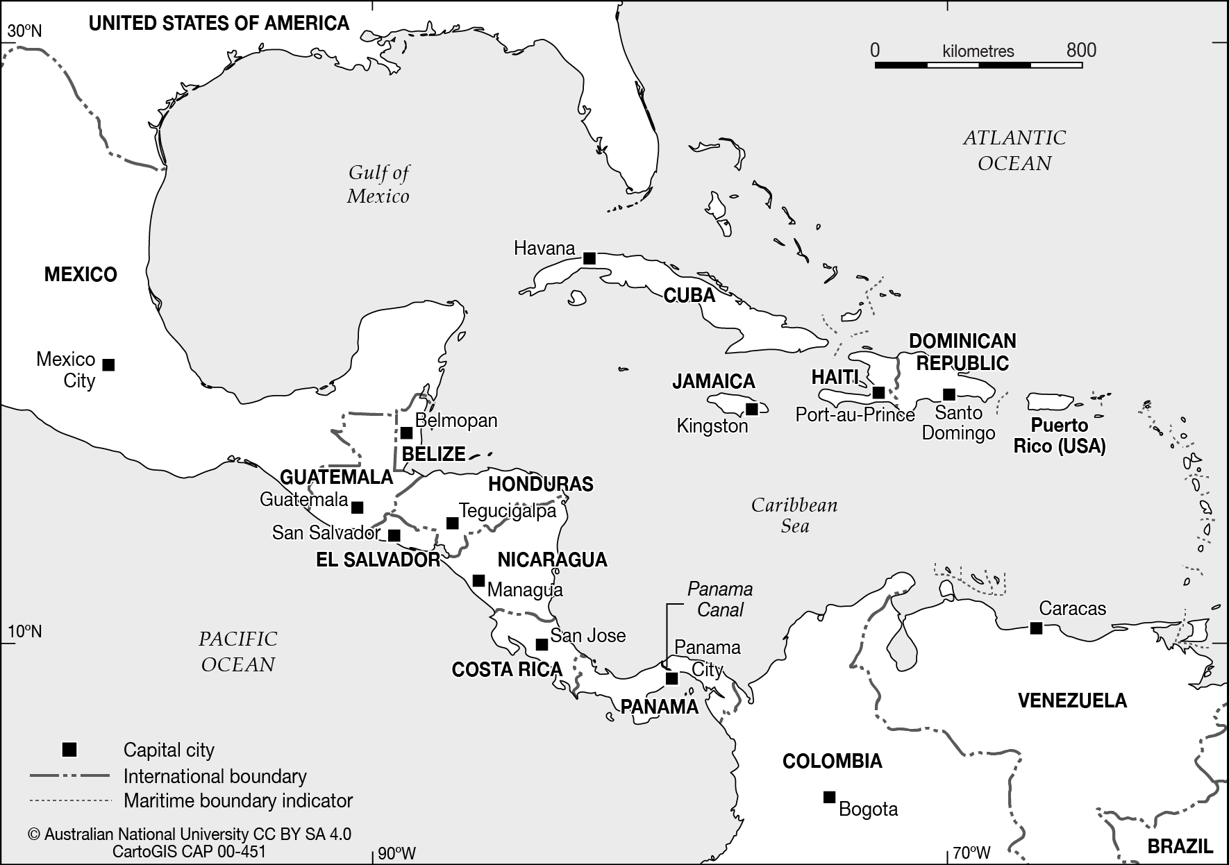Central America & the Caribbean - CartoGIS Services Maps ...