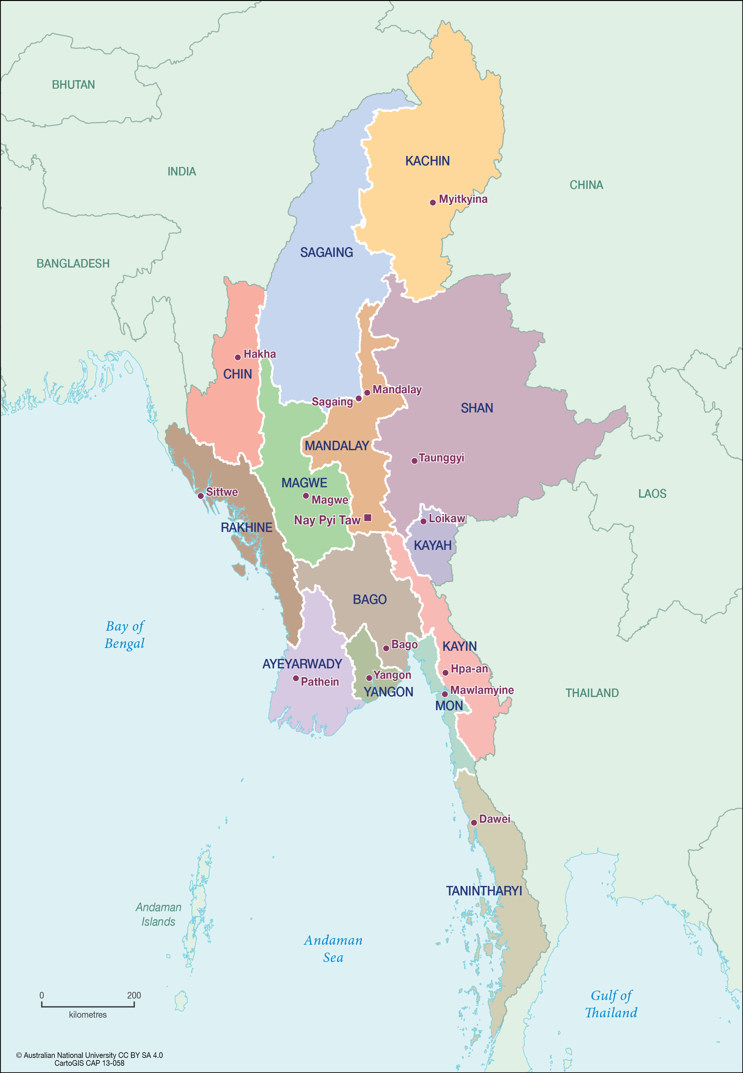 Myanmar states/regions - CartoGIS Services Maps Online - ANU