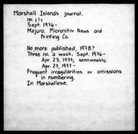 The Marshall Islands Journal, 1976