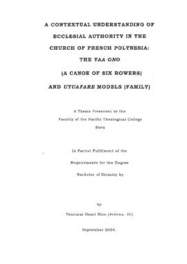 A Contextual Understanding of Ecclesial Authority in the Church of French Polynesia: The Vaa Ono ...