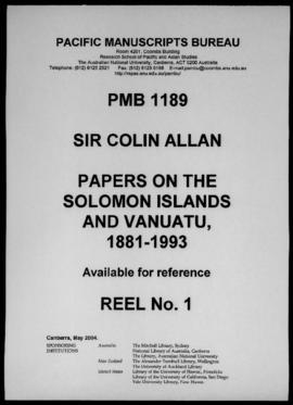 C.H. Allan, Untitled article comparing post-WWII political movements in the Solomon Islands with ...