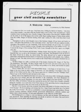 People your civil society newsletter (Civil Society Network, Gizo), Issue #14; Ts., 6pp.