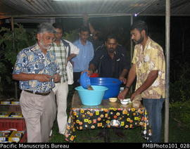 [Suva] Wedding  - at Mahen the groom's home, guests including Brij [Lal] getting kava