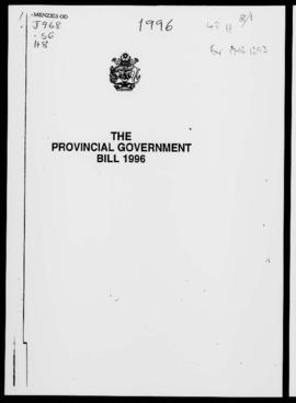 The Provincial Government Bill 1996, extracts only Parts III, Establishment of Provincial Council...