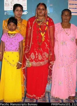 [Suva Wedding Savita the bride, with her mother on her left, ?, and flowergirl]