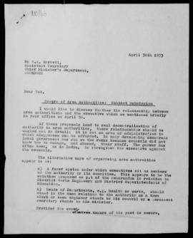 Nigel Oram, letter to T.E. Barnett, Asst Secretary, Chief Minister's Department, Konedobu, re Pow...