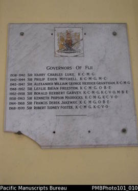 [Suva List of Governors of Fiji 1938 to 1970]