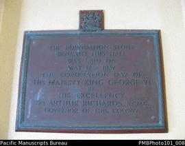 [Suva Foundation stone laid in 1937 of the Government buildings complex]