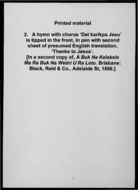A hymn with chorus 'Dat karikpa Jesu' is tipped in the front, in pen with second sheet of presume...